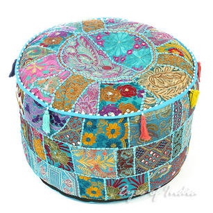 Light Blue Patchwork Round Pouf Ottoman Cover - 22 X 12""