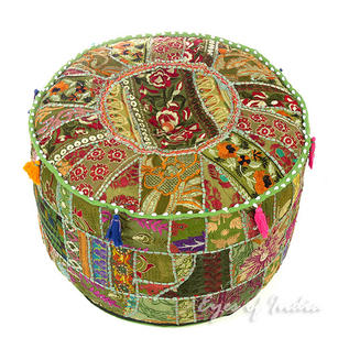 """Olive Green Patchwork Ottoman Pouf Cover Round - 22 X 12"""""""