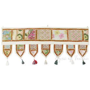 "White Boho Window Door Wall Hanging Bohemian Valance Toran Tapestry - 40"""