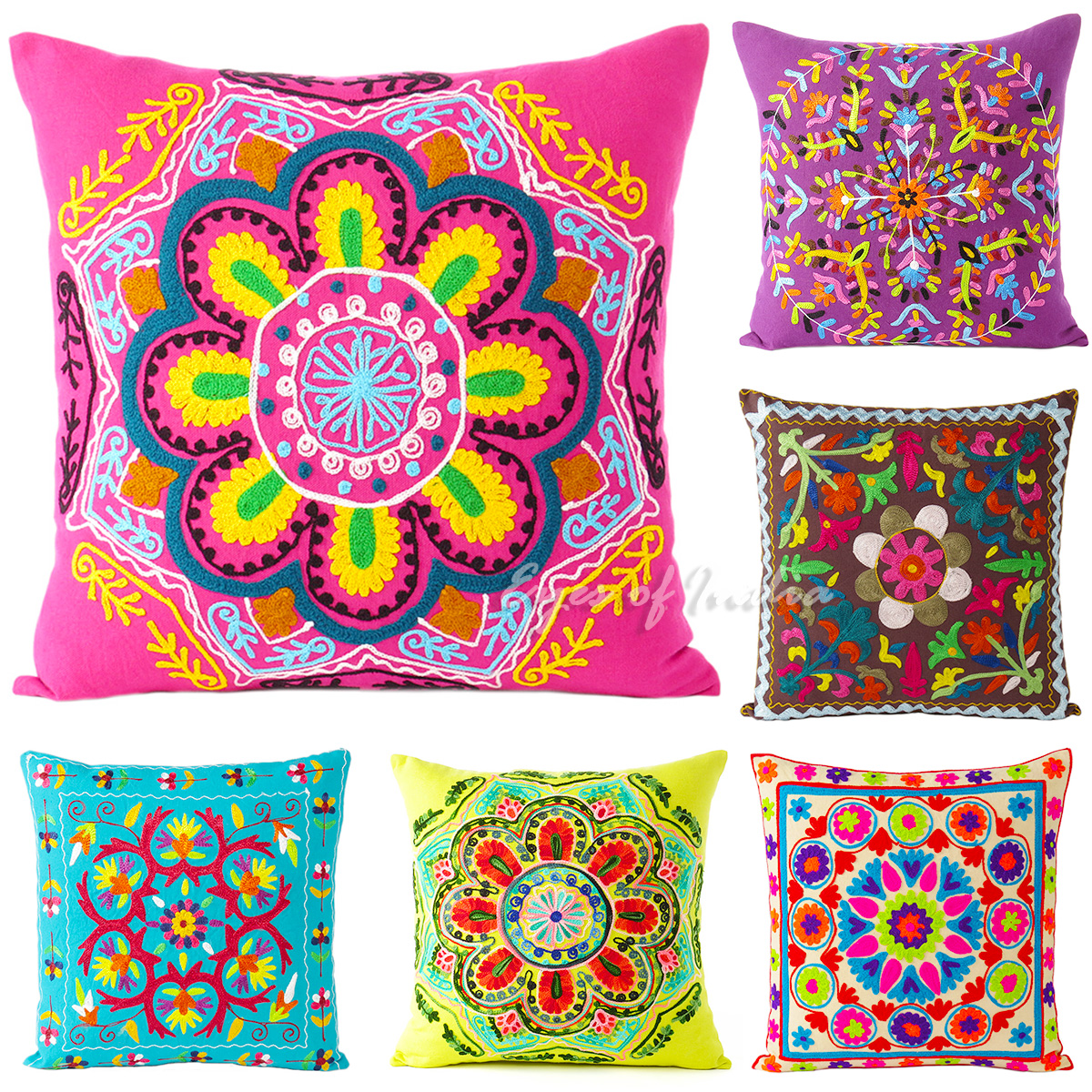 Large selection 16 embroidered decorative pillow for Housse de coussin 55x55