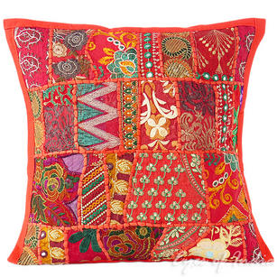 Red Patchwork Decorative Throw Pillow Cushion Cover - 16 X 16""