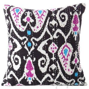 "Black Ikat Kantha Decorative Throw Pillow Cushion Cover - 16 X 16"""