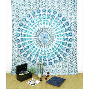 White Elephant Mandala Tapestry Wall Hanging Bedspread- Queen/Double