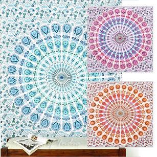 White Mandala Tapestry Wall Hanging Bedspread - Twin/Single