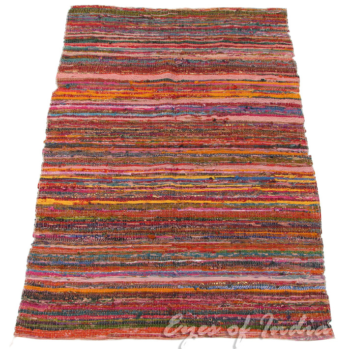 Rag Rug Prices: 5.5 X 3.5 Ft INDIAN CHINDI RAG RUG FLOOR MAT CARPET WOVEN