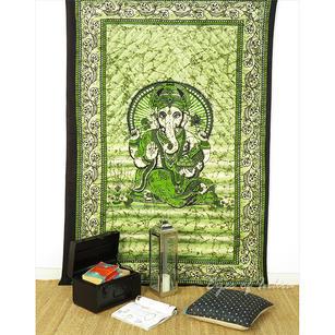 Elephant Mandala Ganesha Tapestry Bedspread Wall Hanging - Twin/Single