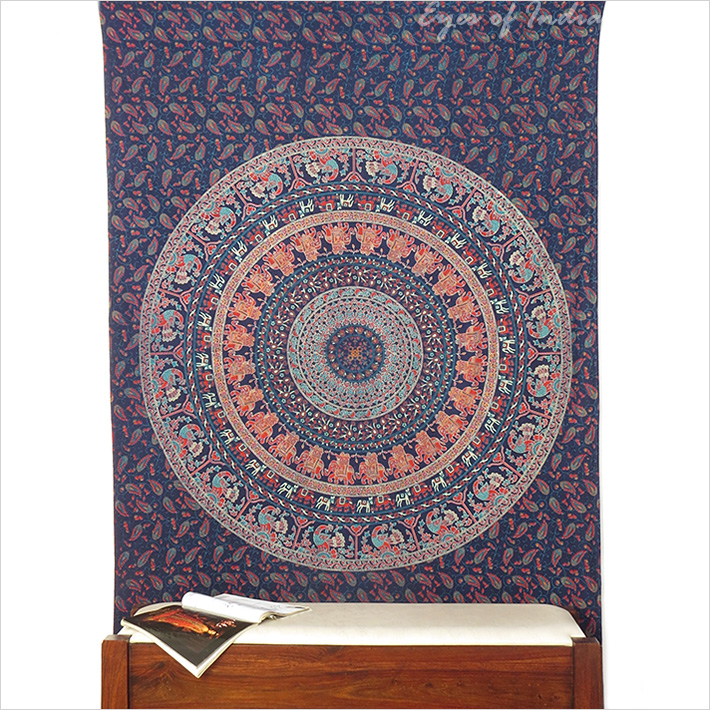 Simple bleu l phant hippie mandala tapisserie tentures for Decoration murale mandala
