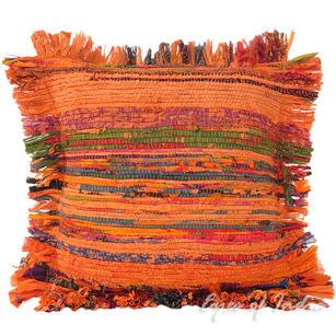 "Orange Chindi Decorative Pillow Cushion Boho Rag Bohemian Cover - 12"""