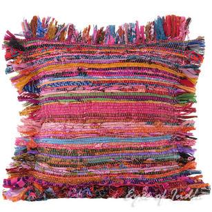 "Pink Chindi Decorative Boho Rag Bohemian Throw Pillow Cushion Cover - 12"""