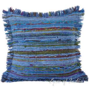 "Blue Chindi Decorative Boho Rag Bohemian Throw Pillow Cushion Cover - 20"""