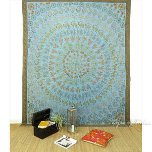 Elephant Mandala Embroidered Bohemian Tapestry Boho Wall Hanging - Queen/Double
