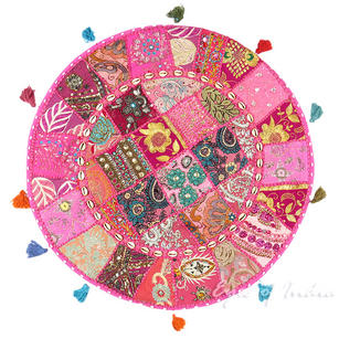 """Pink Round Decorative Floor Cushion Pillow Cover with Shells - 28"""""""