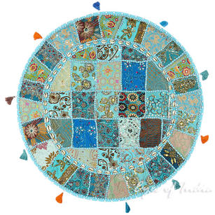 """Light Blue Round Decorative Floor Cushion Pillow Cover with Shells - 32"""""""