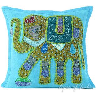 "Light Blue Jogi Elephant Decorative Throw Pillow Cushion Cover - 16 X 16"""