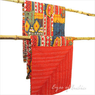 Kantha Embroidered Tapestry Quilt Throw Bedspread - Twin/Single
