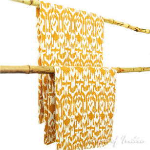 Ikat Kantha Embroidered Throw Tapestry Quilt Bedspread - Twin/Single