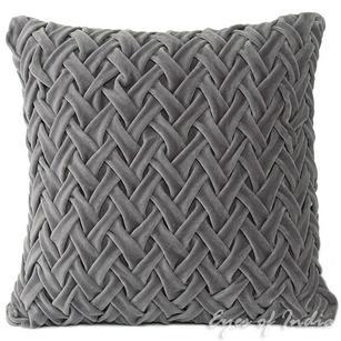 "Velvet Braided Decorative Pillow Cushion Throw Cover - 16 X 16"""
