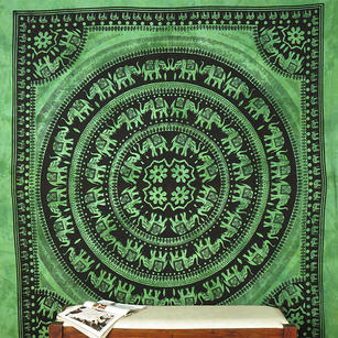 Mandala Boho Elephant Tapestry Bedspread Wall Hanging with Fringes - Queen/Double