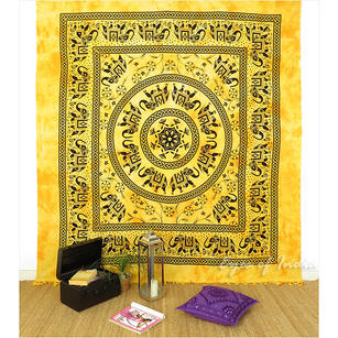 Elephant Mandala Tapestry Wall Hanging Bedspread with Fringes - Queen/Double