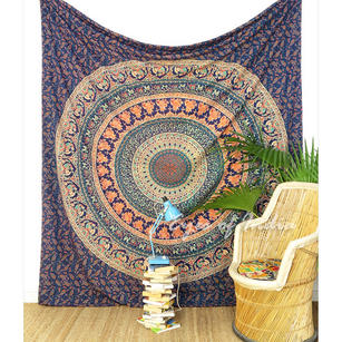 Mandala Elephant Tapestry Bedspread Wall Hanging - Queen/Double