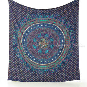 Hippie Boho Elephant Mandala Tapestry Indian Wall Hanging Bedspread - Queen/Double