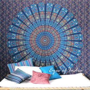 Indian Elephant Mandala Tapestry Hippie Wall Hanging Bedspread - Queen/Double