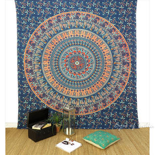 Elephant Mandala Tapestry Bedspread Wall Hanging- Queen/Double