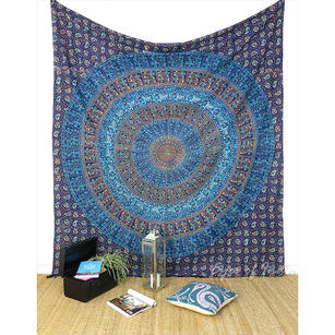 Hippie Boho Elephant Mandala Block Printed Tapestry Bedspread with Fringes - Queen/Double