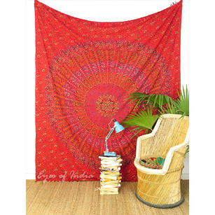 Bohemian Elephant Block Print Mandala Hippie Wall Hanging Tapestry with Fringes - Queen/Double