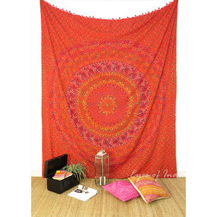 Elephant Hippie Boho Block Print Mandala Tapestry Bedspread with Fringes - Queen/Double