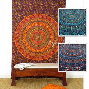 Hippie Mandala Elephant Tapestry Indian Boho Wall Hanging Bedspread - Twin/Single