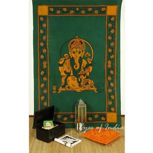 Batik Ganesha Ganesh Elephant Tapestry Wall Hanging Bedspread - Twin/Single