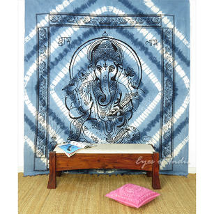 Mandala Ganesha Tapestry Wall Hanging Bedspread with Fringes - Queen/Double