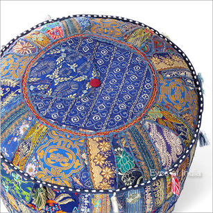 """Small Blue Patchwork Round Pouf Ottoman Cover - 17 X 12"""""""