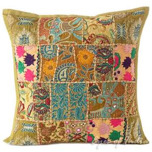 """Light Brown Patchwork Decorative Pillow Cushion Throw Cover - 16 X 16"""""""