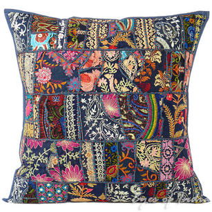 Blue Patchwork Decorative Pillow Cushion Cover - 24 X 24""