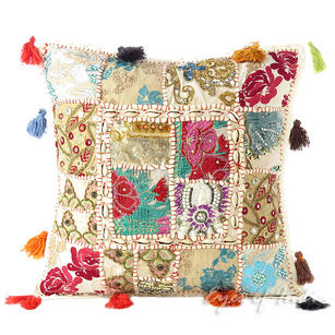 """White Patchwork Throw Pillow Cushion Cover with Shells - 16 X 16"""""""