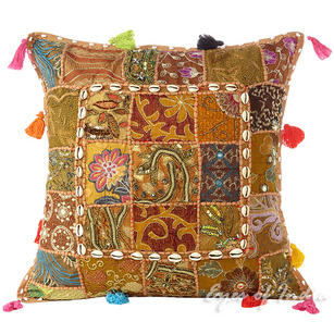 """Light Brown Patchwork Decorative Pillow Cushion Cover with Shells - 20 X 20"""""""