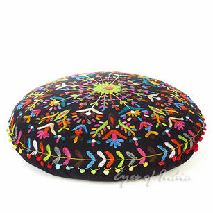 """Embroidered Round Decorative Floor Pillow Cushion Cover - 24"""""""