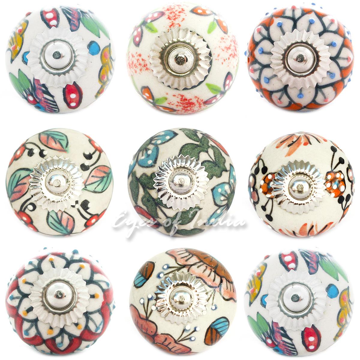 White ceramic cabinet dresser door cupboard knobs pulls for Painted ceramic cabinet knobs