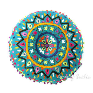 """Teal Green Blue Round Decorative Floor Cushion Pillow Pouf Cover - 24"""""""