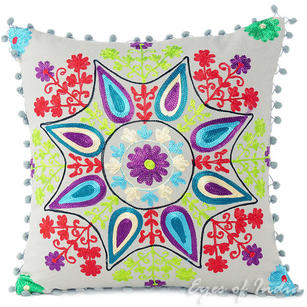 """Gray Grey Embroidered Decorative Throw Pillow Cushion Cover - 16"""""""