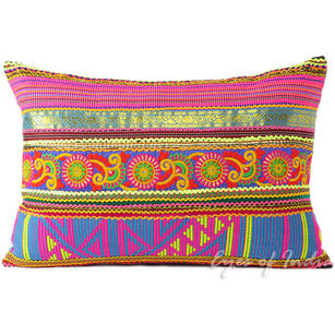Pink and Yellow Moroccan Decorative Sofa Throw Pillow Cushion Cover- 24 X 16""