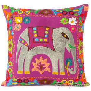 "Purple Decorative Elephant Embroidered Sofa Throw Pillow Cushion Cover - 16, 18"""