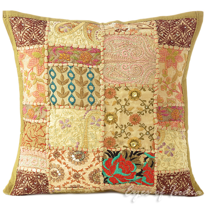 16 Quot Brown Decorative Patchwork Sofa Throw Cushion Pillow