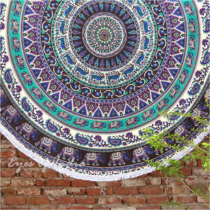 Black White Roundie Beach Boho Throw Picnic Mat Spread Hippie Mandala Tapestry - 80""