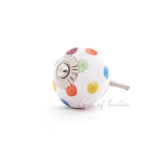 Colorful Dots Ceramic Decorative Dresser Cabinet Door Cupboard Knob Pulls Handles