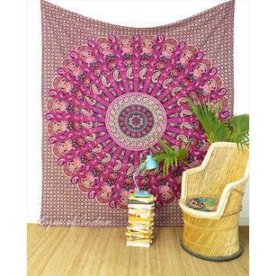 Purple Bohemian Indian Hippie Mandala Tapestry Wall Hanging Bedspread - Queen/Double