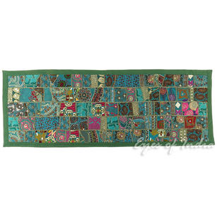 Green Decorative Embroidered Patchwork Tapestry Wall Hanging - 20 X 60""