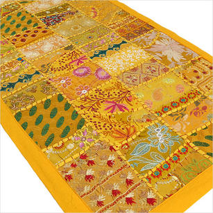 Yellow Embroidered Patchwork Tapestry Wall Hanging - 20 X 60""